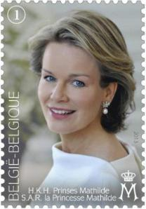 Briefmarke zum 40. Geburtstag der belgischen Prinzessin Mathilde, Herzogin von Brabant.