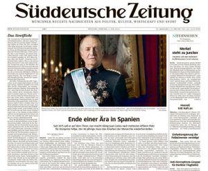 Viele Zeitungen - hier die Süddeutsche Zeitung - hatten am Dienstag als Aufmacher die Erklärung König Juan Carlos'.