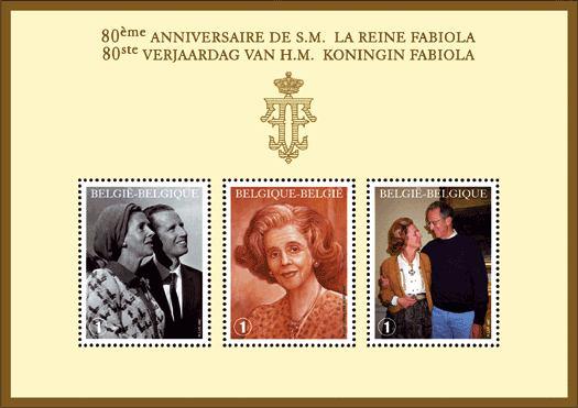 Anläßlich des 80. Geburtstags veröffentlichte die belgische Post einen Jubiläumsblock mit drei Briefmarken.