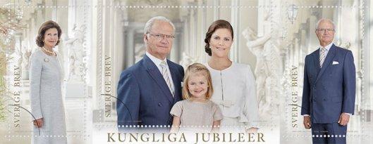 Zum Königsgeburtstag wurden auch neue Briefmarken herausgegeben, die die drei Generationen zusammen zeigt.