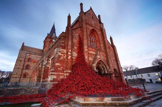 In der Kathedrale von Kirkwall wurde ein weinendes Fenster (weeping window) mit 8500 Mohnblumen gebildet, die sich über den Vorplatz der Saint Magnus Kathedrale ergossen.