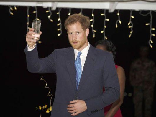 Erhebt sein Glas auf die Insel Barbados: Prinz Heinrich (Harry) als Vertreter der Königin von Barbados.
